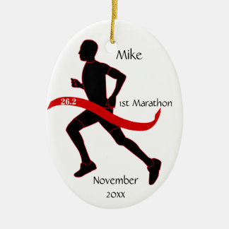 Marathon Runner Ornament - Male red