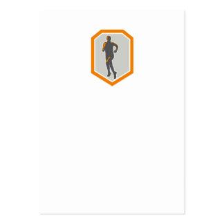Marathon Runner Running Front Shield Retro Business Card
