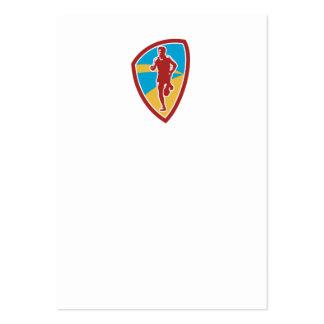 Marathon Runner Shield Retro Business Card Templates