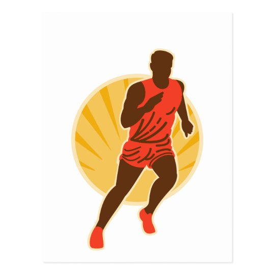 Marathon runner silhouette sunburst postcard