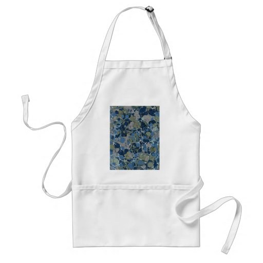 Marbelized Pattern in Shades of Blue and Tan Apron