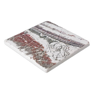 Marble Abstract Grey and White Stone Design Trivet