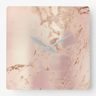 Marble Abstract Pearly Blush Pink Coral Rose Coppe Square Wall Clock