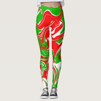 Marble abstract red and green leggings. leggings