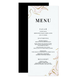 Marble Agate Wedding Menu | Pink and Gold Card