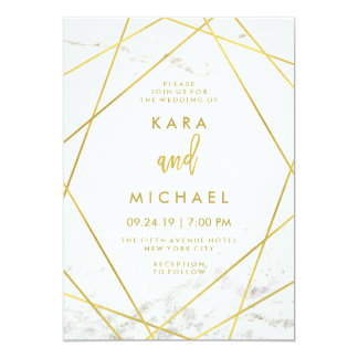Marble and Faux Gold Geometric Wedding Invite