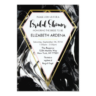 Marble and Gold Diamond Bridal Shower Invitation