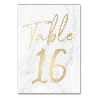 Marble and Gold Script | Table Number Card 16
