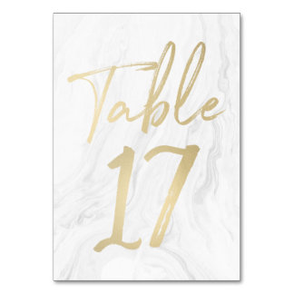 Marble and Gold Script | Table Number Card 17