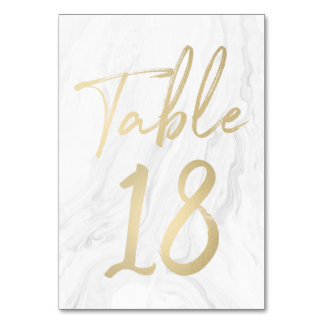 Marble and Gold Script | Table Number Card 18