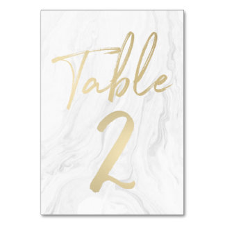 Marble and Gold Script | Table Number Card 2