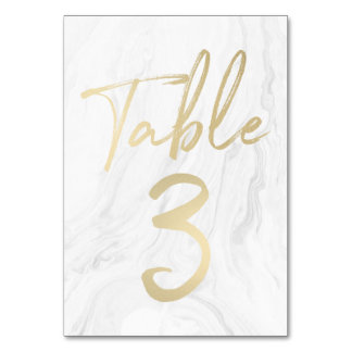 Marble and Gold Script | Table Number Card 3 Table Card