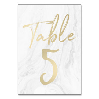 Marble and Gold Script | Table Number Card 5