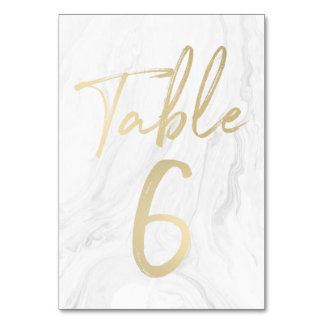Marble and Gold Script | Table Number Card 6