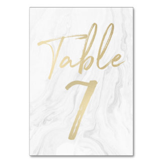 Marble and Gold Script | Table Number Card 7 Table Cards