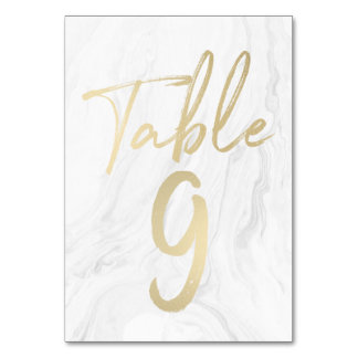 Marble and Gold Script | Table Number Card 9