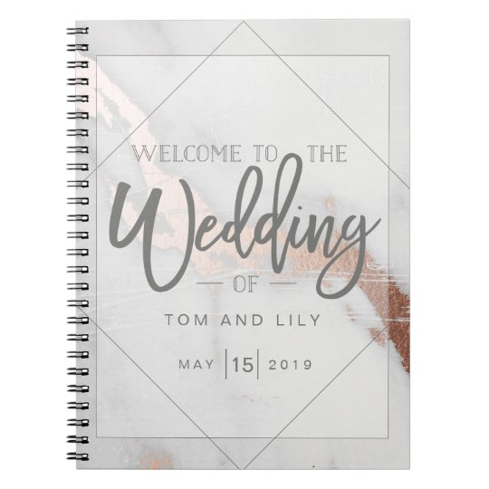MARBLE AND METALLIC WEDDING NOTEPAD NOTEBOOK