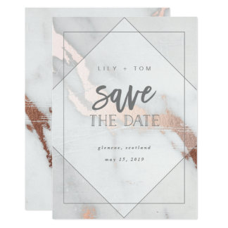 MARBLE AND ROSE GOLD EFFECT SAVE THE DATE CARD