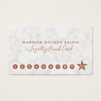 Marble and Rose Gold Loyalty Business Punch Card