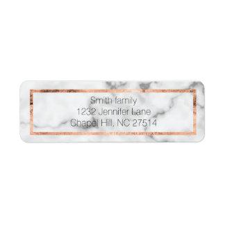 Marble and rose gold return address label
