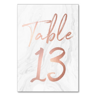 Marble and Rose Gold Script | Table Number Card 13