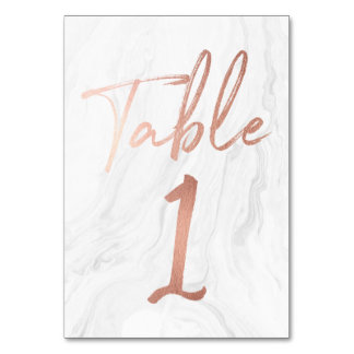 Marble and Rose Gold Script | Table Number Card 1 Table Cards