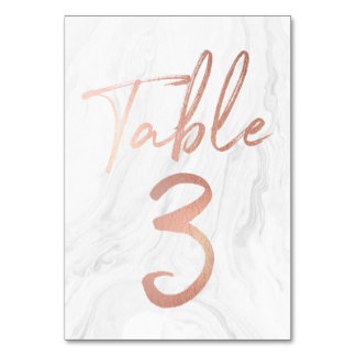 Marble and Rose Gold Script | Table Number Card 3 Table Cards