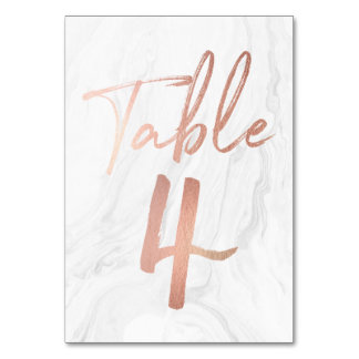 Marble and Rose Gold Script | Table Number Card 4 Table Card