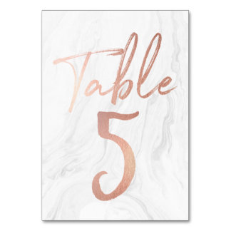 Marble and Rose Gold Script | Table Number Card 5 Table Cards