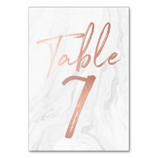 Marble and Rose Gold Script | Table Number Card 7