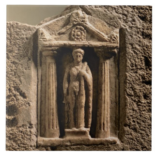 Marble and sandstone votive stele with female figu tile