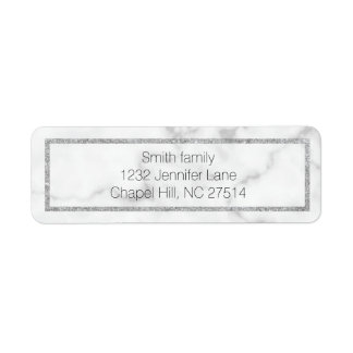 Marble and silver return address label