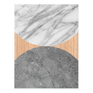 Marble and wood abstract postcard