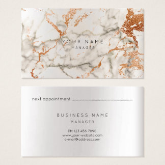 Marble Appointment Card Silver Copper Gray VIP