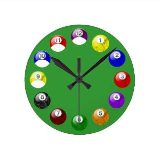 Marble Ball Green Felt Pool Clock