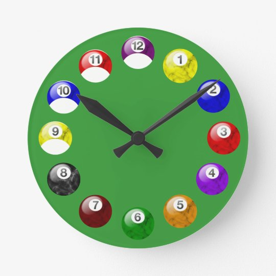 Marble Ball Green Felt Pool Clock