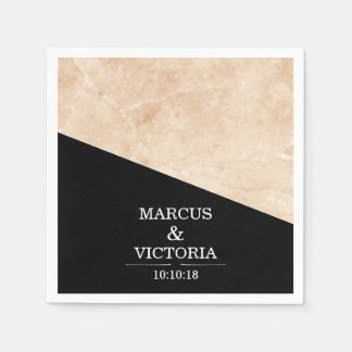 Marble black and white wedding disposable serviette