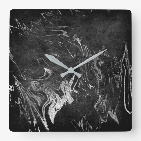 Marble Black Silver Graphite Noir Square Wall Clock