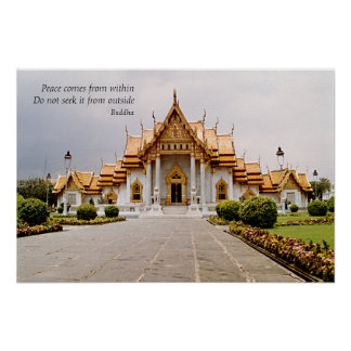 Marble Buddhist Temple of Gold with Peace Posters
