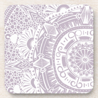 Marble circle coaster. Bohemian mandala design Beverage Coaster