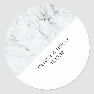 Marble circle favor sticker