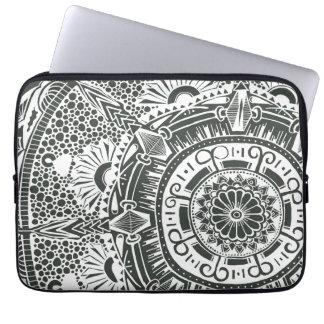 Marble circle laptop sleeve. mandala art pattern laptop sleeve