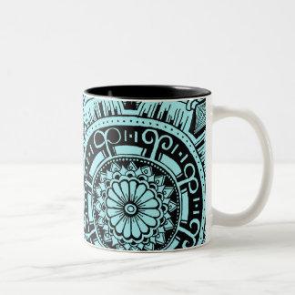 Marble circle mug bohemian mandala design