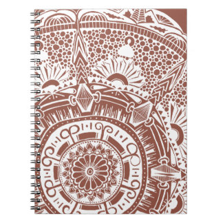 Marble circle notebook bohemian mandala design