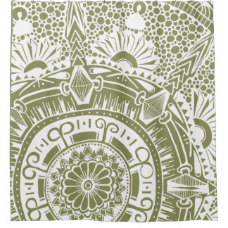 Marble circle shower curtain with mandala doodling