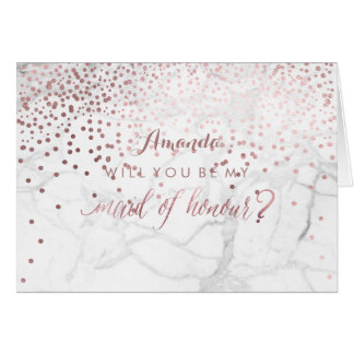 Marble+Confetti Will You Be My Maid of Honour Note Card