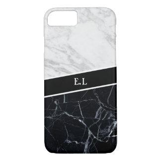 Marble Contrast Monogram Apple iPhone 7 Case