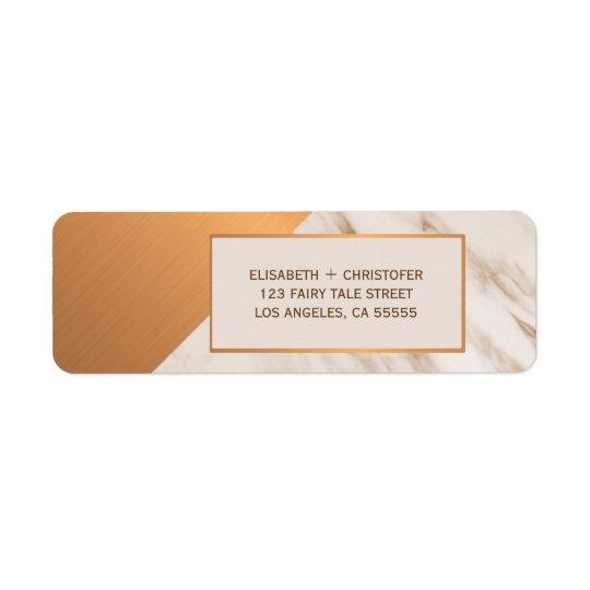 Marble copper geometric wedding return address