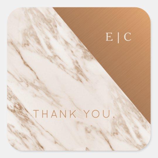 Marble copper minimalist monogrammed wedding square sticker