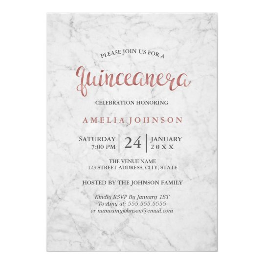 Marble Faux Rose Gold Quinceanera Invitation